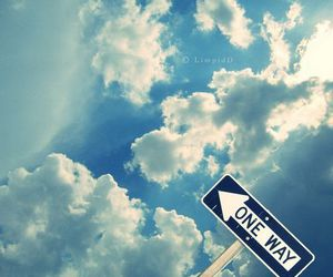 sky, one way, and clouds image