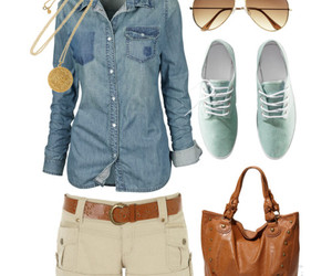 outfit, casual, and shorts image