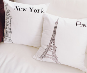 paris, new york, and pillow image