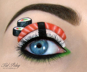sushi, makeup, and eye image