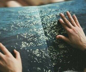 book, hand, and water image