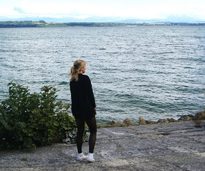 blonde girl and sea image