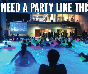 party, pool, and fun image
