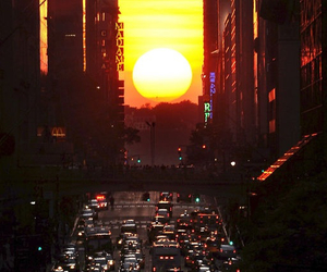 city, sun, and sunset image