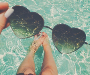 summer, sunglasses, and heart image