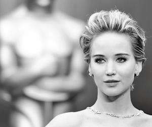 Jennifer Lawrence, oscar, and black and white image