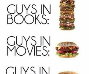 books, burger, and guys image