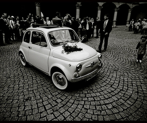 black and white, fiat, and car image