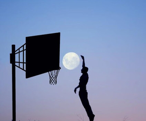 moon, Basketball, and basket image