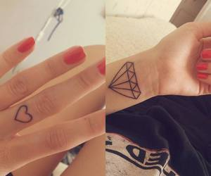 tattoo, diamond, and heart image