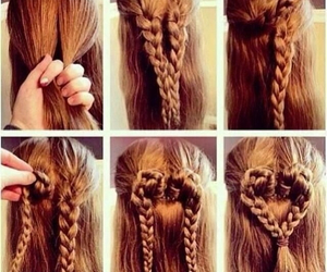 hair, braid, and heart image
