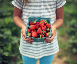 girl, strawberry, and flickr image