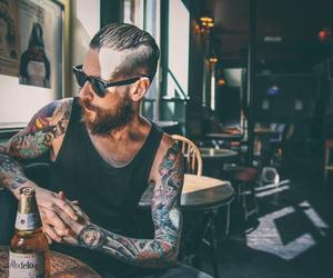 tattoo, beard, and beer image