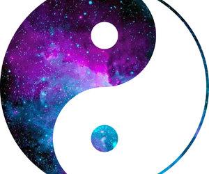 galaxy, ying&yang, and girly image