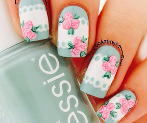 flowers, nails, and sweet image