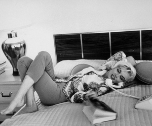 50s, bed, and black and white image