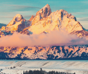 mountains, winter, and clouds image