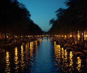 lights, night, and river image