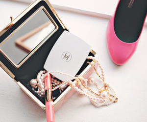 chanel, pink, and pearls image