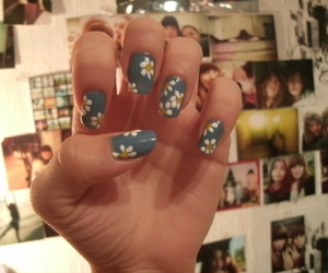 blue, flower, and nail art image