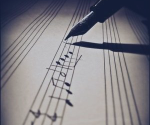 music, note, and pen image