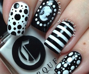 black, polish, and white image