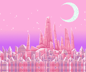 pink, moon, and pixel image