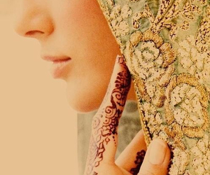 henna, hijab, and muslim image