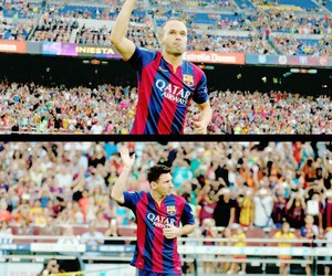 Barca, iniesta, and messi image