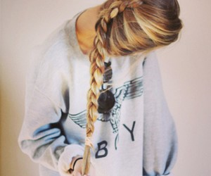 beautiful, braid, and blond hair image