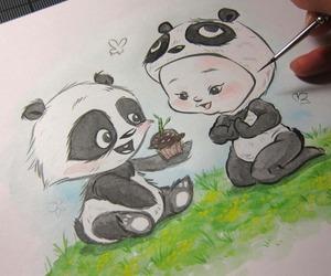 drawing, panda, and cute image