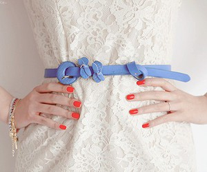 dress, nails, and blue image