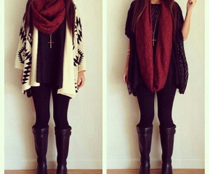 boots, cardigan, and necklaces image