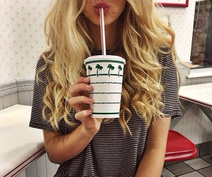 blond, long hair, and milkshake image