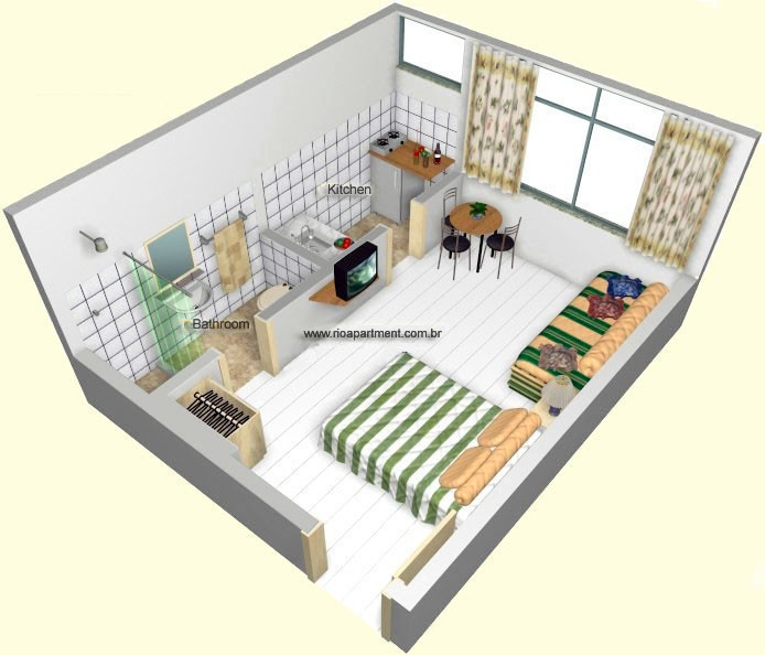 Wooden, White And Open Idea For Studio Apartment Floor Plans: The Amazing  Wooden White Domination Floor Style And Lines Green Blanket Studio  Apartment Floor ...