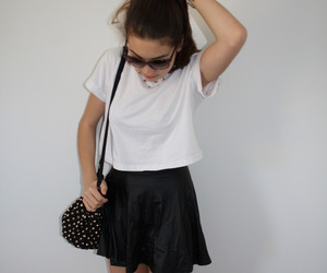 black and white, skirt, and cute image