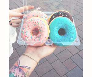 donuts, pink, and blue image
