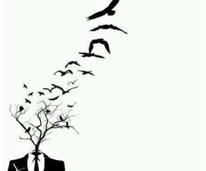 anime, birds, and black and white image