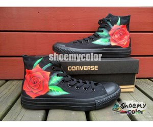 fashion shoes, rose, and converse shoes image