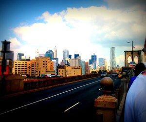 blue, brooklyn bridge, and new york city image