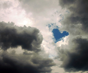 clouds, heart, and holiday image