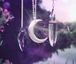 moon, necklace, and crystal image