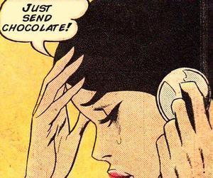 chocolate, pop art, and comic image