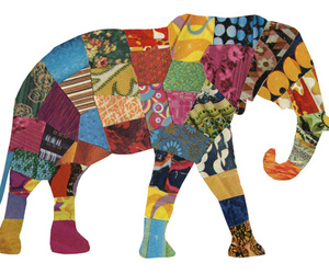 colorful, elephant, and patterns image