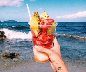 beach, food, and fruit image