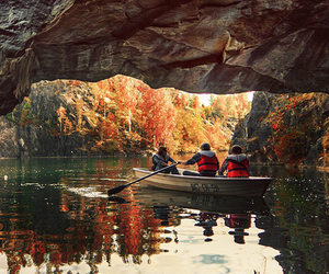 nature, autumn, and boat image