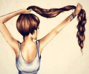 draw, hair, and girl image
