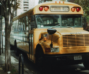 bus, school bus, and vintage image
