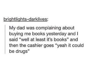 books, drugs, and funny image