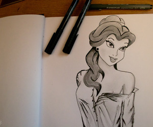 drawing, belle, and disney image